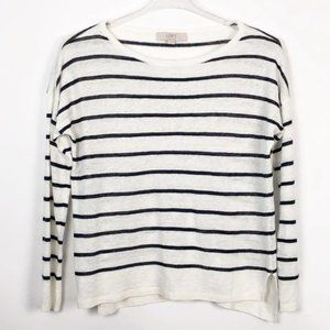 LOFT Linen Stripe Long Sleeve Top Summer Cool XS